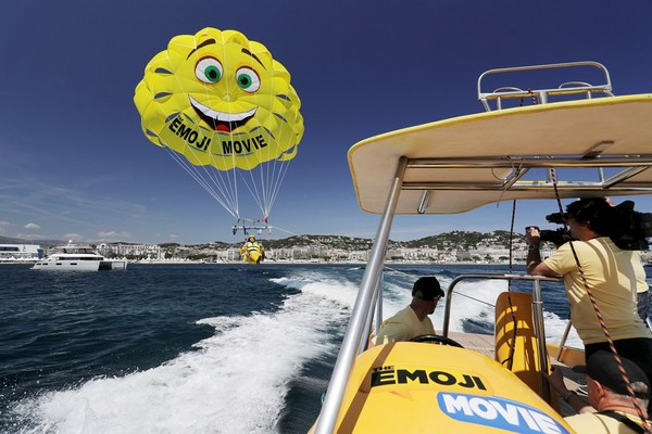 CANNES, FRANCE - MAY 16:  Actor T.J Miller parasails to ?The Emoji Movie? photo call at the start of the 70th Cannes Film Festival at The Carlton Pier on May 16, 2017 in Cannes, France.  (Photo by Neilson Barnard/Getty Images for Sony Pictures)