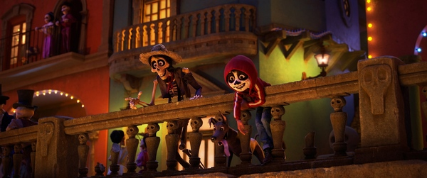 """COCO (Pictured) - FITTING IN – When Miguel (voice of Anthony Gonzalez) ends up in the Land of the Dead, he teams up with a streetwise skeleton named Héctor (voice of Gael García Bernal) who helps Miguel blend into the crowd by giving him a little face paint. Directed by Lee Unkrich and co-directed by Adrian Molina, Disney•Pixar's""""Coco,"""" opens in U.S. theaters on Nov. 22, 2017. ©2017 Disney•Pixar. All Rights Reserved."""
